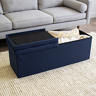 "Kids Harper 43"" Folding Storage Bench with Tufted Padded Flip Lid, , rollover"