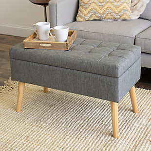 """Kids Brooklyn 32"""" Gray Upholstered Storage Bench Tufted Lift Top, , rollover"""