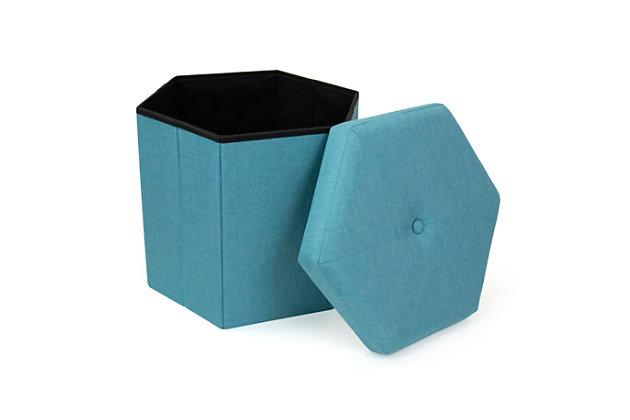 "Kids Devon 16"" Hexagonal Upholstered Collapsible Storage Ottoman, , large"