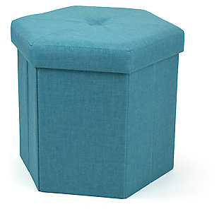 "Kids Devon 16"" Hexagonal Upholstered Collapsible Storage Ottoman, , large"