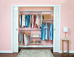 "Organized Living freedomRail® Basic Adjustable Closet Kit, 48""-52"", White, rollover"