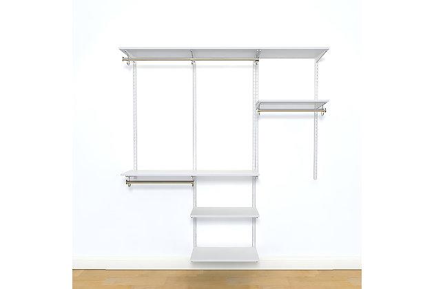 """Organized Living freedomRail® Basic Adjustable Closet Kit, 48""""-52"""", White, large"""