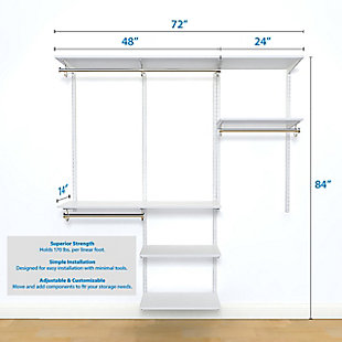"""Organized Living freedomRail® Basic Adjustable Closet Kit, 72""""-76"""", White, large"""