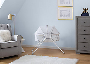 Delta Children EZ Fold Ultra Compact Travel Bassinet, White/Gray, rollover