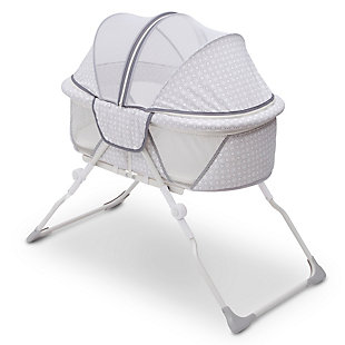 Delta Children EZ Fold Ultra Compact Travel Bassinet, White/Gray, large