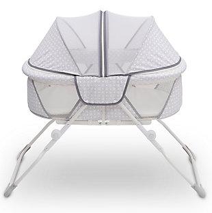 Delta Children Ez Fold Ultra Compact Travel Bassinet, White/Gray, large