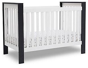 Delta Children Miles 4-in-1 Convertible Crib, Black/White, large