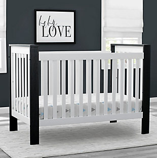 Delta Children Miles 4-in-1 Convertible Crib, White/Black, rollover