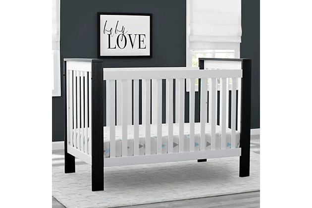 Delta Children Miles 4-in-1 Convertible Crib, Black/White, large