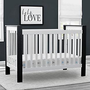 Delta Children Miles 4-in-1 Convertible Crib, Black/White, rollover