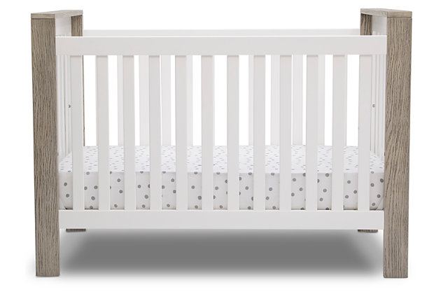 Delta Children Miles 4-in-1 Convertible Crib, Beige/White, large