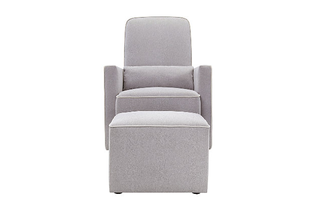 Davinci Olive Glider and Ottoman, Dove Gray, large
