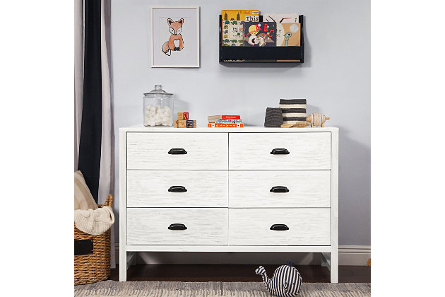Davinci Fairway 6 Drawer Double Dresser, White, large