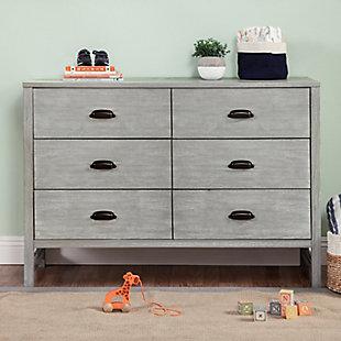 Davinci Fairway 6 Drawer Double Dresser, Gray, rollover
