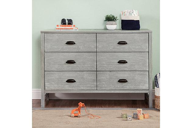 Davinci Fairway 6 Drawer Double Dresser, Gray, large
