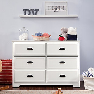 Davinci Charlie Homestead 6 Drawer Double Dresser, White, rollover