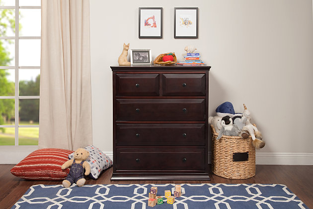 Davinci Signature 5 Drawer Tall Dresser, Brown, large