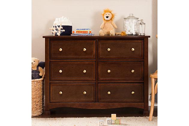 Davinci Kalani 6 Drawer Double Wide Dresser, Dark Brown, large