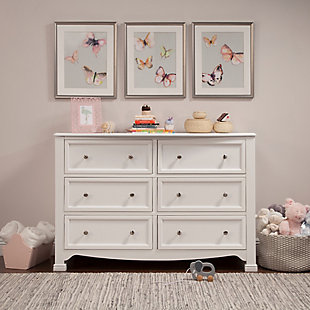 Davinci Kalani 6 Drawer Double Wide Dresser, White, rollover