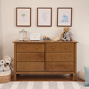 Davinci Jayden 6 Drawer Double Wide Dresser, Brown, large