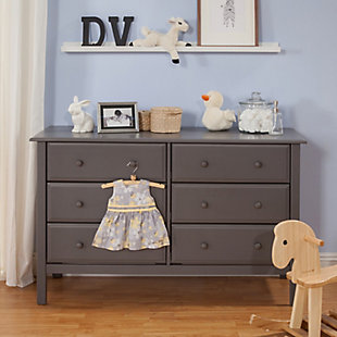 Davinci Jayden 6 Drawer Double Wide Dresser, Gray, large