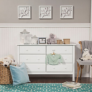 Davinci Jayden 6 Drawer Double Wide Dresser, White, rollover