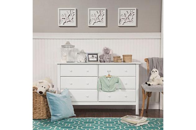 Davinci Jayden 6 Drawer Double Wide Dresser, White, large