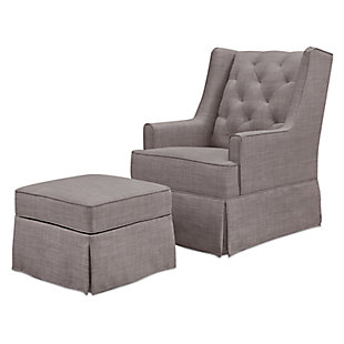 Million Dollar Baby Classic Sadie Swivel Glider with Storage Ottoman, Gray, large