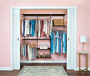 "Organized Living freedomRail® Basic Adjustable Closet Kit, 72""-76"", Chocolate Pear, rollover"