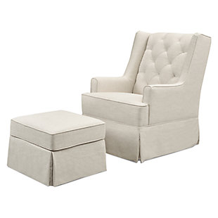 Million Dollar Baby Classic Sadie Swivel Glider with Storage Ottoman, White, large