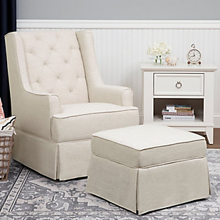 Million Dollar Baby Classic Sadie Swivel Glider with Storage Ottoman, White, rollover