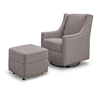 Million Dollar Baby Classic Harper Swivel Glider with Gliding Ottoman, Gray, large