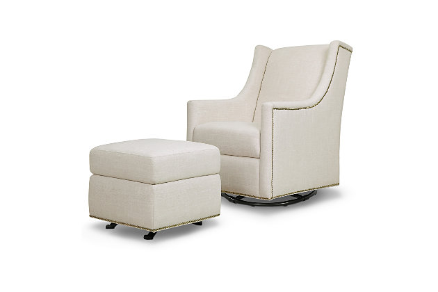Million Dollar Baby Classic Harper Swivel Glider with Gliding Ottoman, Beige, large