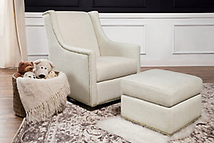 Million Dollar Baby Classic Harper Swivel Glider with Gliding Ottoman, Beige, rollover