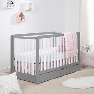 Carter's by Davinci Colby 4-in-1 Convertible Crib with Trundle Drawer, Gray/White, rollover