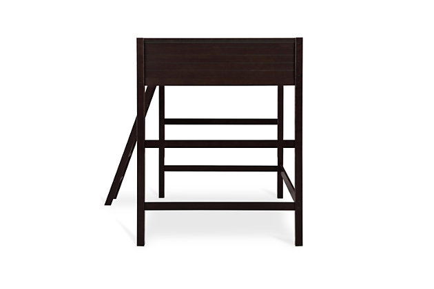 Kids Denver Full Size Wooden Loft Bed with Ladder, Brown, large