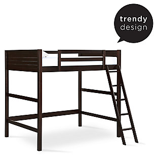 Kids Denver Full Size Wooden Loft Bed with Ladder, Brown, rollover