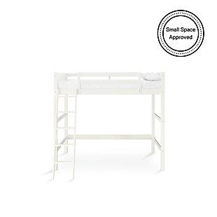 Kids Denver Full Size Wooden Loft Bed with Ladder, White, large