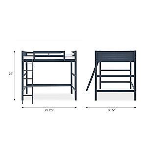 Kids Denver Full Size Wooden Loft Bed with Ladder, Blue, large