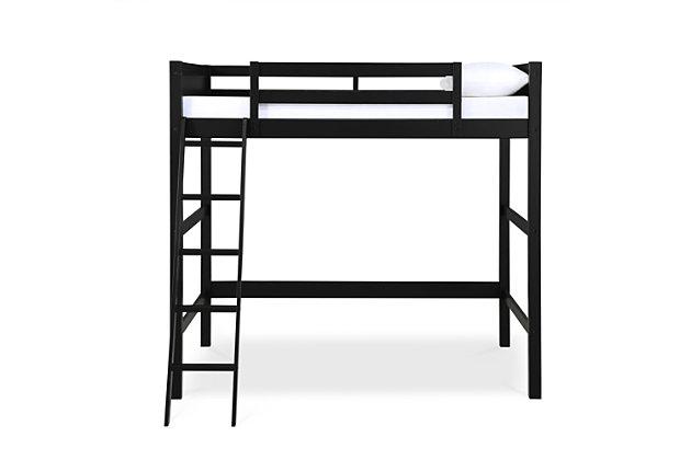 Kids Denver Full Size Wooden Loft Bed with Ladder, Black, large