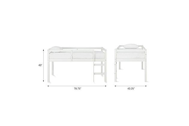 Kids Milton Junior Twin Size Wooden Loft Bed, White, large