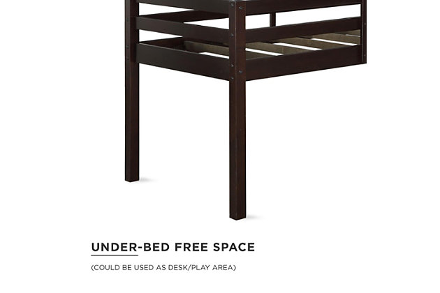 Kids Milton Junior Twin Size Wooden Loft Bed, Brown, large