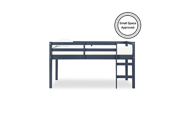 Kids Milton Junior Twin Size Wooden Loft Bed, Blue, large