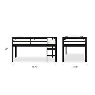Kids Milton Junior Twin Size Wooden Loft Bed, Black, large