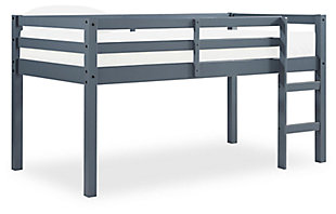 Kids Milton Junior Twin Size Wooden Loft Bed, Gray, rollover