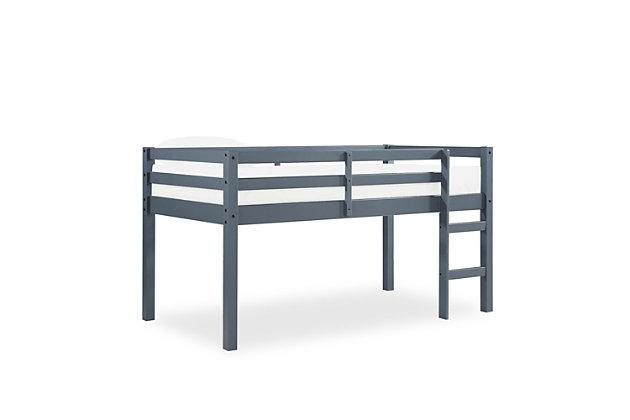 Kids Milton Junior Twin Size Wooden Loft Bed, Gray, large