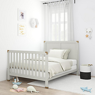 Baby Relax Miles 5-in-1 Convertible Crib, Gray, rollover