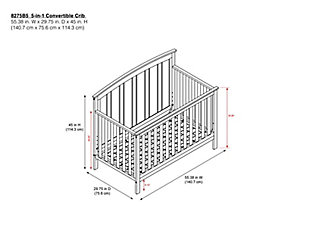 Baby Relax Colton 5-in-1 Convertible Crib, Gray, large