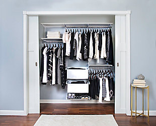 "Organized Living freedomRail® Premium Adjustable Closet Kit, 72""-76"", White, rollover"