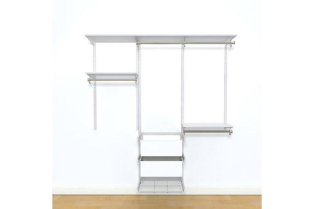 "Organized Living freedomRail® Premium Adjustable Closet Kit, 72""-76"", White, large"